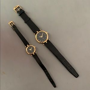 PAIR GUCCI WATCHES HIS & HERS BLACK LIZARD BANDS